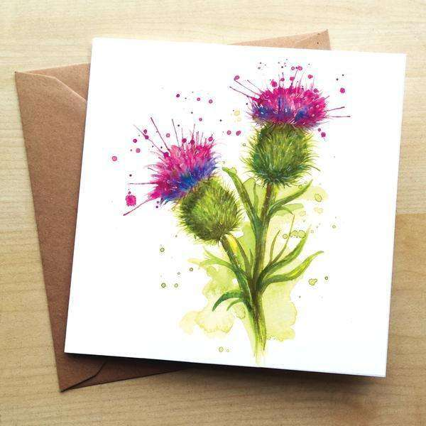 Splatter Scottish Thistles Blank Greetings Card