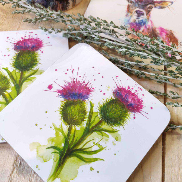 Splatter Scottish Thistles Coaster
