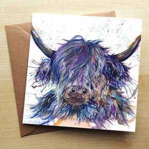 Splatter Scruffy Highland Coo Blank Greetings Card Greetings Cards Wraptious Contempo
