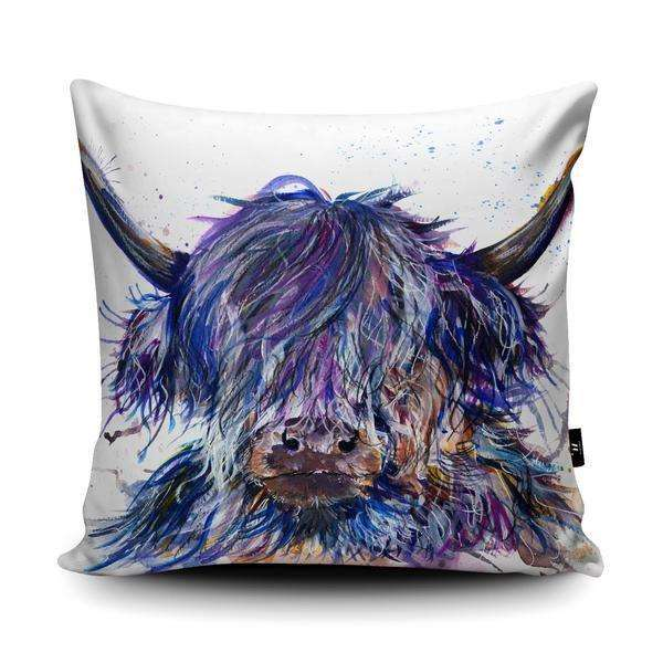 Splatter Scruffy Highland Cow Cushion