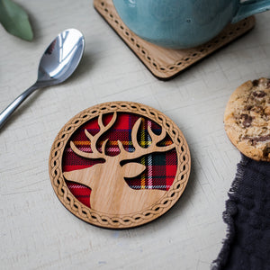 Stag Wood & Tartan Coaster Coasters LT Creations Contempo