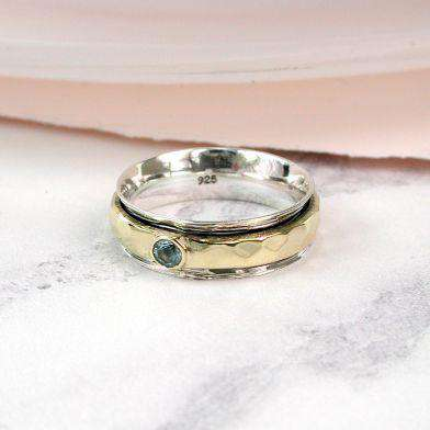 Sterling Silver Blue Topaz Spinning Ring