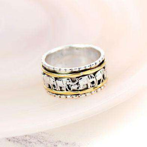Sterling Silver & Brass Elephant Spinning Ring Jewellery Peace of Mind Contempo