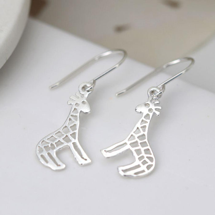Sterling Silver Giraffe Drop Earrings