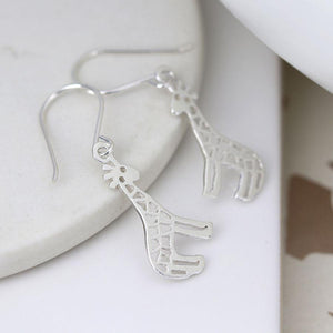 Sterling Silver Giraffe Drop Earrings Jewellery Peace of Mind Contempo