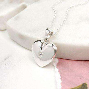Sterling Silver Heart & Crystal Locket with Crystal Jewellery Peace of Mind Contempo