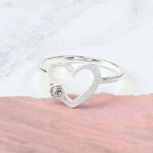 Sterling Silver Scratched Heart Crystal Ring Jewellery Peace of Mind Contempo