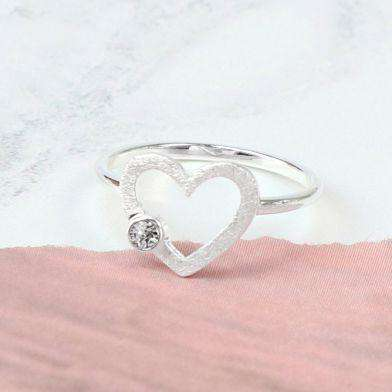 Sterling Silver Scratched Heart Crystal Ring