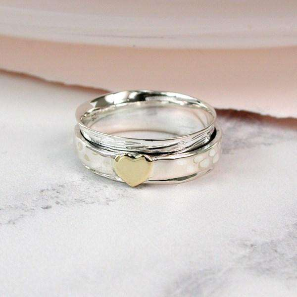 Sterling Silver Spinning Ring with Heart