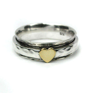 Sterling Silver Spinning Ring with Heart Jewellery Peace of Mind Contempo