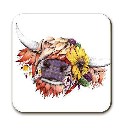 Drinks coaster with a picture of a traditional highland cow on the front.