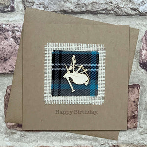 Tartan & Bagpipes Birthday Card Greetings Cards All That Glitters Contempo