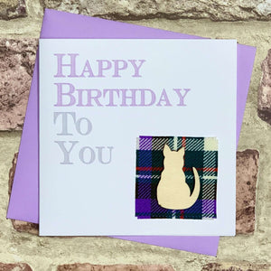 Tartan & Wooden Cat Birthday Card Greetings Cards All That Glitters Contempo