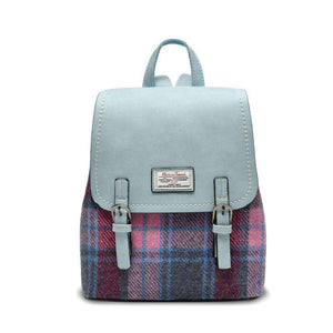 The Jura Harris Tweed Backpack (Pink & Blue Tartan) Backpacks Snowpaw Contempo