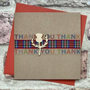 Thistle & Tartan Ribbon Thank You Card Greetings Cards All That Glitters Contempo