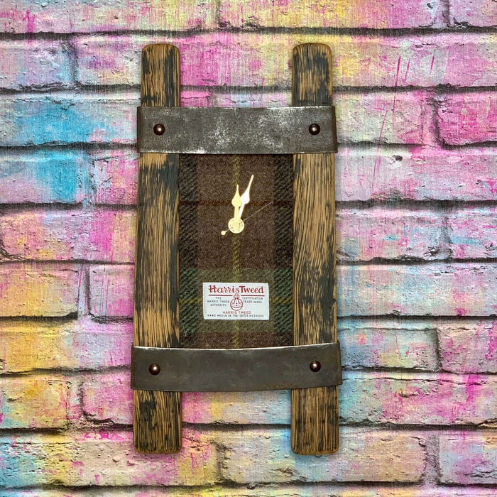 Twin Stave Wall Clock With Harris Tweed