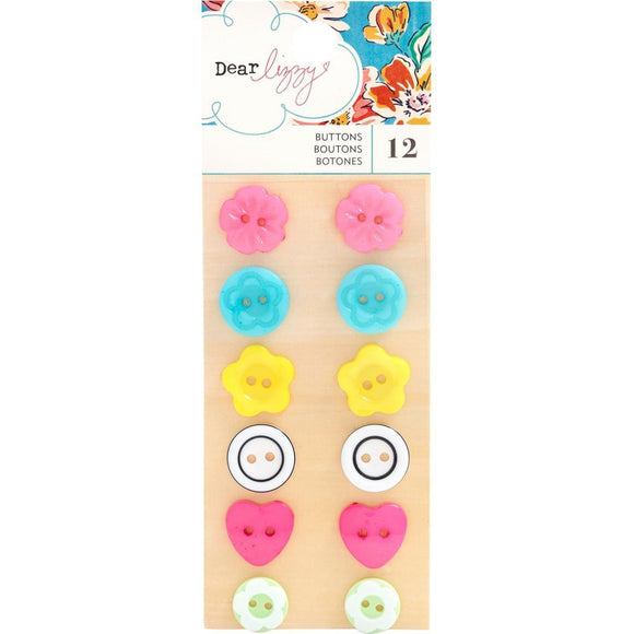 Scrapbooking  Dear Lizzy She's Magic Buttons 12/Pkg Buttons