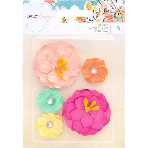 Scrapbooking  Dear Lizzy She's Magic Dimensional Paper Flowers 5/Pkg Pips & Rhinestones Flowers