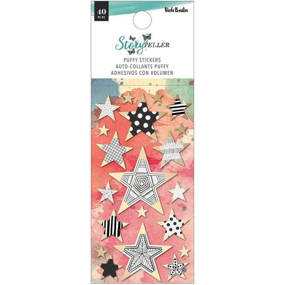 Scrapbooking  Vicki Boutin Storyteller Puffy Stickers 40/Pkg Mini Stars W/Gold Foil Accents Paper 12