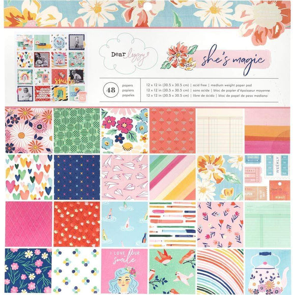Scrapbooking  Dear Lizzy She's Magic Single-Sided Paper Pad 12