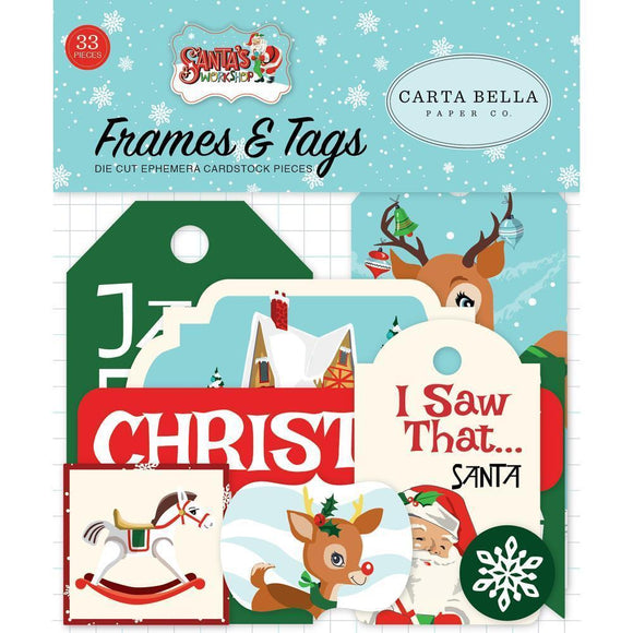 Scrapbooking  Santa's Workshop Ephemera Cardstock Die-Cuts 33/Pkg Frames & Tags Ephemera