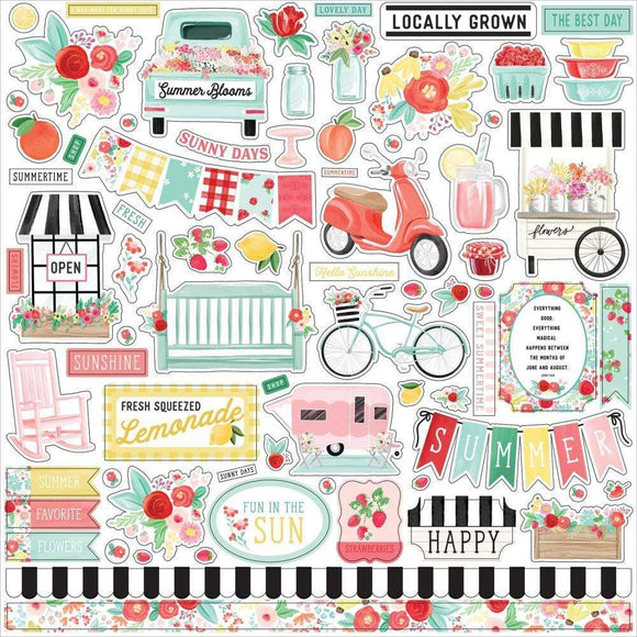 Scrapbooking  Summer Market Cardstock Stickers 12
