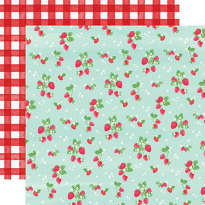 "Scrapbooking  Summer Market Double-Sided Cardstock 12""X12"" - Strawberries Paper 12x12"