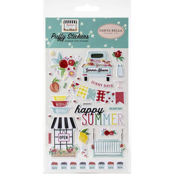 Scrapbooking  **** Arriving Shortly *** Summer Market Puffy Stickers Paper 12x12