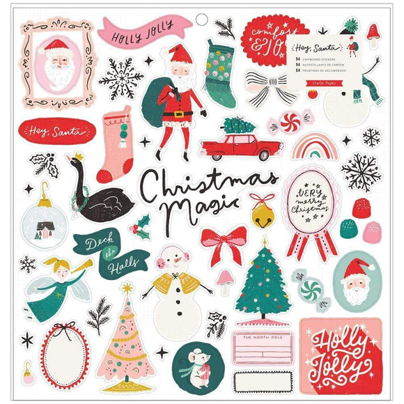 Scrapbooking  Hey, Santa Chipboard Stickers 54/Pkg Chipboards