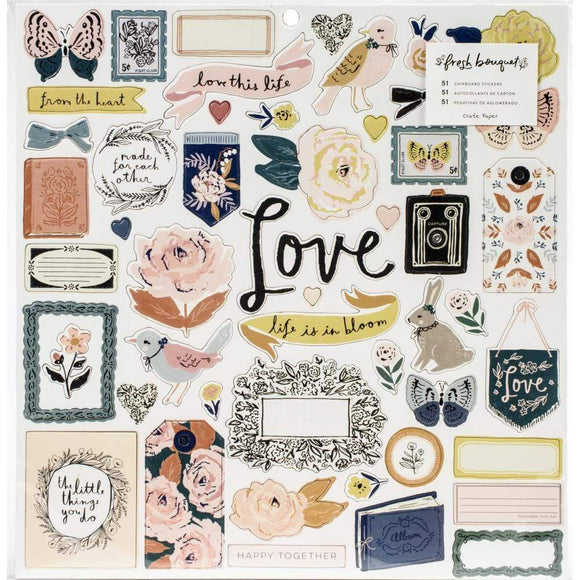 Scrapbooking  Fresh Bouquet Chipboard Stickers 50/Pkg Ephemera