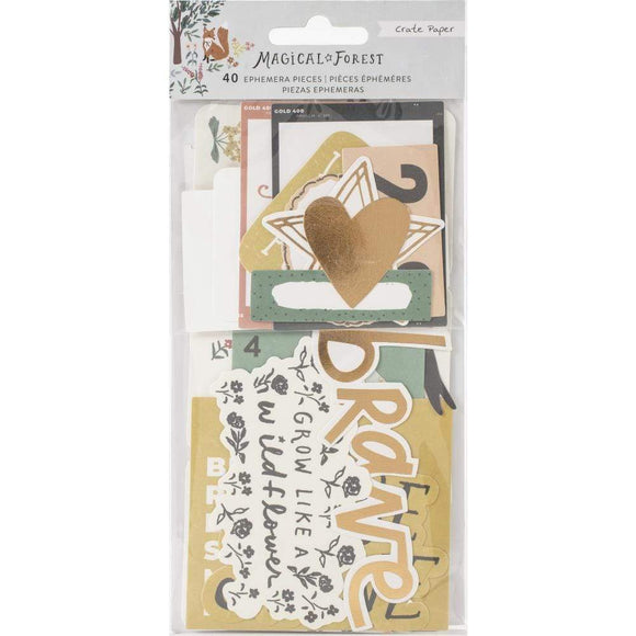 Scrapbooking  Magical Forest Ephemera Die-Cuts 40/Pkg Cardstock W/Copper Foil Accents Ephemera