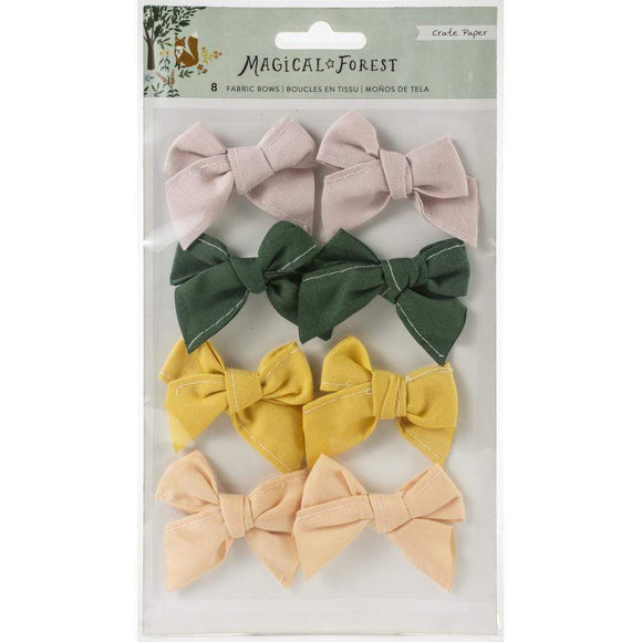 Scrapbooking  *** On backorder *** Magical Forest Fabric Bows 8/Pkg Ephemera