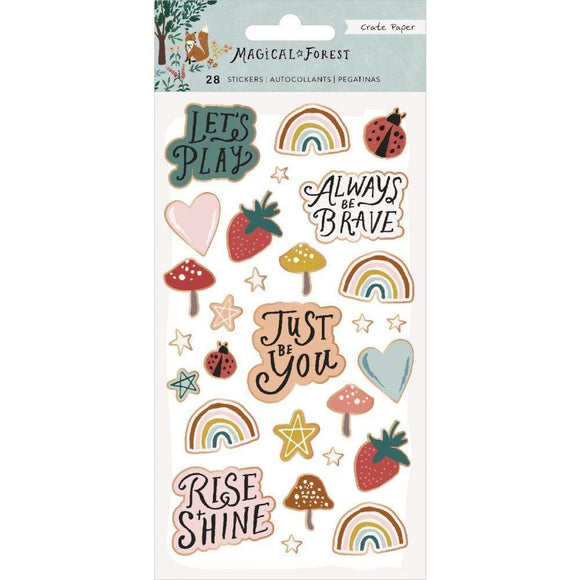 Scrapbooking  Magical Forest Puffy Stickers 28/Pkg Ephemera