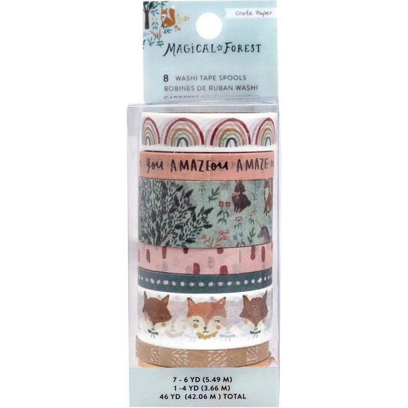 Scrapbooking  Magical Forest Washi Tape 8/Pkg 4 To 6 Yards Each Ephemera