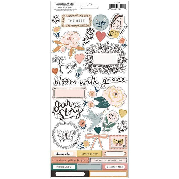 Scrapbooking  Fresh Bouquet Cardstock Stickers 68/Pkg vellum