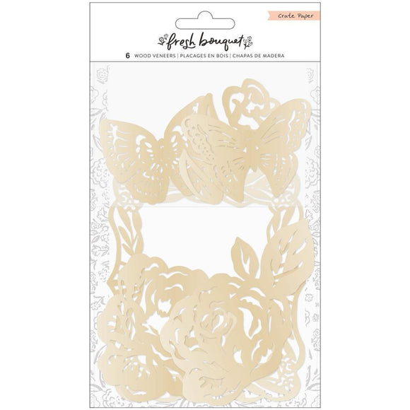Scrapbooking  Fresh Bouquet Wood Veneer Shapes 6/Pkg Silver Foiled vellum