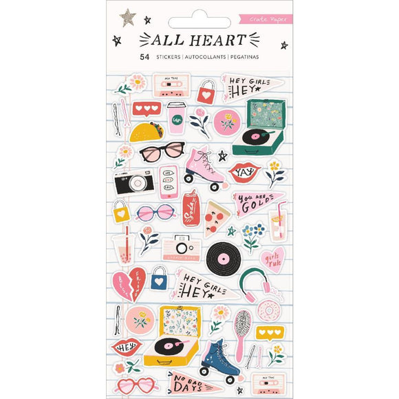 Scrapbooking  All Heart Puffy Stickers 54/Pkg Paper 12x12