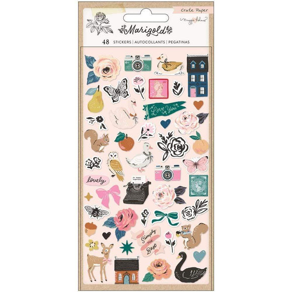 Scrapbooking  Maggie Holmes Marigold Puffy Stickers 48/Pkg Puffy Stickers