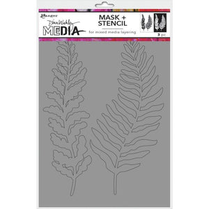 "Scrapbooking  Dina Wakley Media Stencils + Masks 6""X9""  Curly Frond Stencil Paper Collections 12x12"