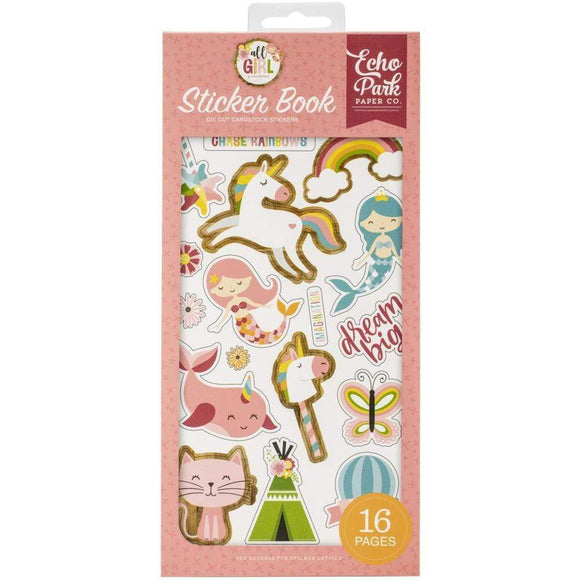 Scrapbooking  All Girl Sticker Book - 16 pages Chipboards