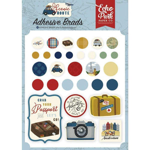 Scrapbooking  Scenic Route Decorative Brads & Chipboards 25pk Embellishments