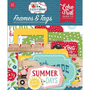 Scrapbooking  Echo Park A Slice Of Summer Cardstock Ephemera 33/Pkg Frames & Tags Ephemera