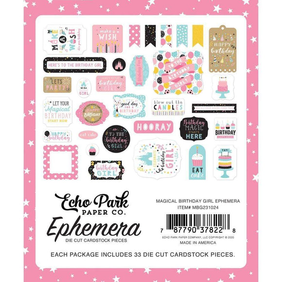 Scrapbooking  Echo Park Cardstock Ephemera 33/Pkg Icons, Magical Birthday Girl Ephemera