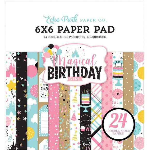 Scrapbooking  Echo Park Magical Birthday Girl Double-Sided Paper Pad 6