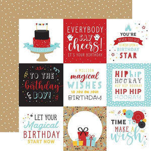 "Scrapbooking  Magical Birthday Boy Double-Sided Cardstock 12""X12"" - 4x4 Journaling Cards Paper 12""x12"""