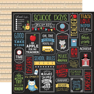 "Scrapbooking  School Rules Double-Sided Cardstock 12""X12"" - School is Cool Paper 12""x12"""