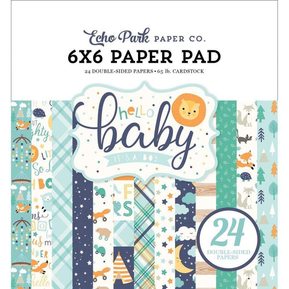 Scrapbooking  Echo Park Hello Baby Boy Double-Sided Paper Pad 6