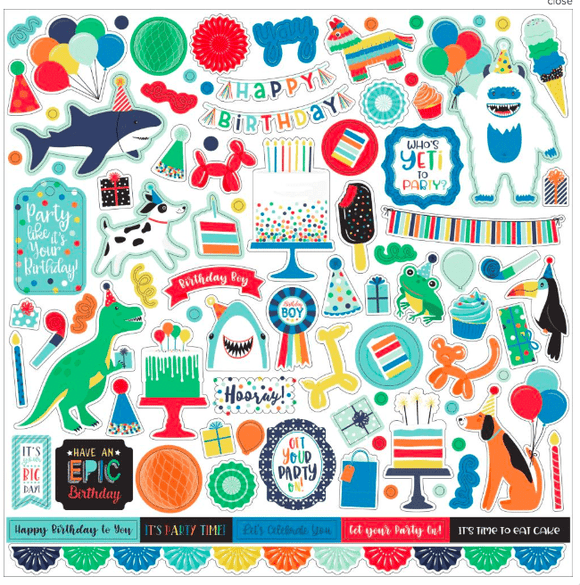Scrapbooking  It's Your Birthday Boy Cardstock Stickers 12