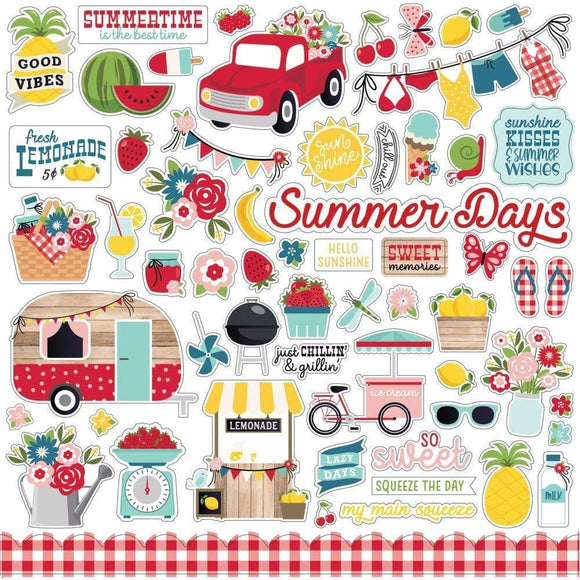 Scrapbooking  A Slice Of Summer Cardstock Stickers 12