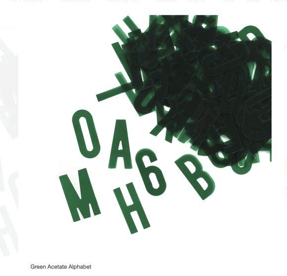 Scrapbooking  Elles Studio - Green Acetate Alphabet kit